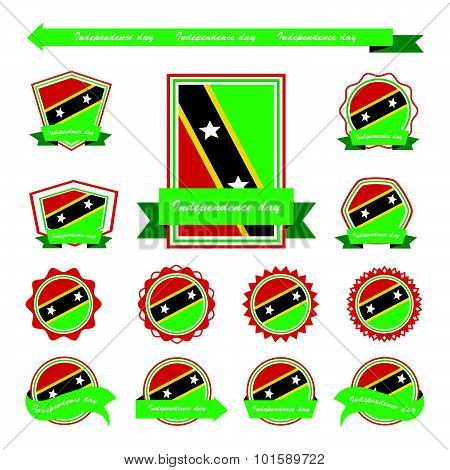 St Kitts & Nevis Independence Day Flags Infographic Design