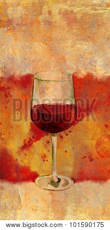 Watercolor glass of red wine with bright banner and place for text'
