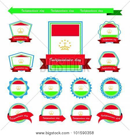 Tajikistan Independence Day Flags Infographic Design