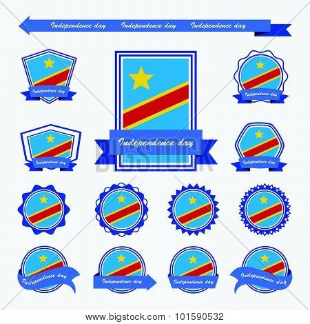 The Democratic Republic Of The Congo Independence Day Flags Infographic Design