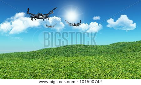 3D landscape of grassy hill with drones flying in a blue sky