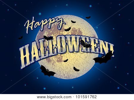 Festive Illustration On Theme Of Halloween. Moon In Dark Night