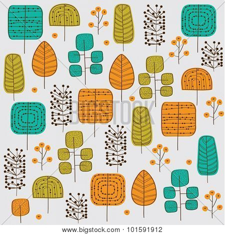 Autumn trees seamless pattern