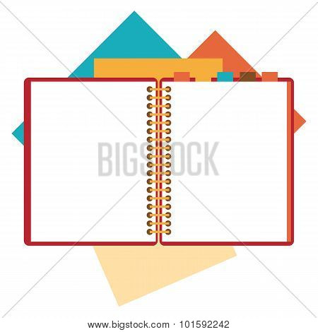 Flat design of open notepad, paper sheets.
