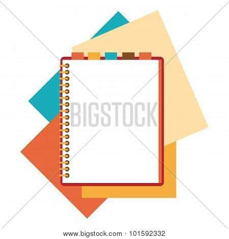 Flat design notepad with paper sheets.