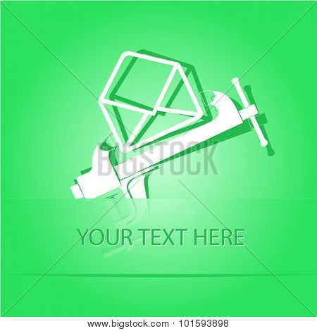 open mail with clamp. Paper sticker as bookmark. Vector illustration. Eps10.