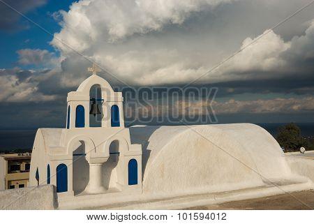 Campanile Of The White Church And Scenic Cloud, Oia, Santorini, Greece..