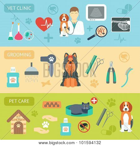 Set Of Horizontal Banners. Pet Care. Vet Clinic. Grooming. Flat Design. Vector