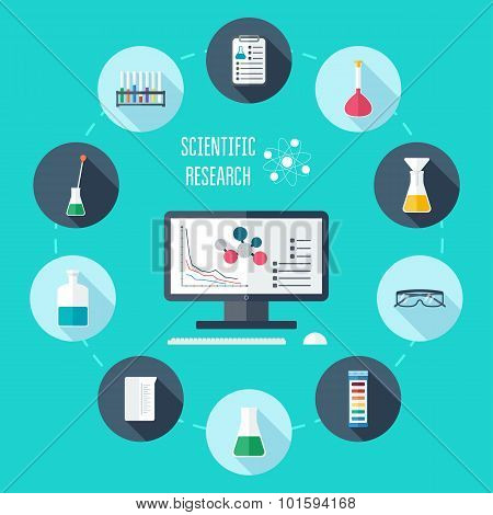 Chemical Flat Icon Set. Scientific Banner, Background, Poster, Concept. Scientific Research. Flat De