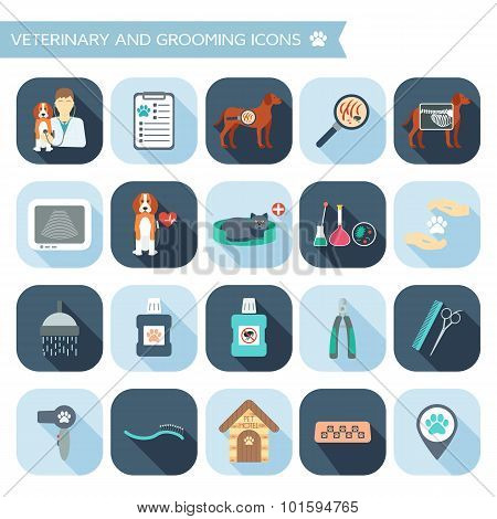 Set Of Veterinary And Grooming Icons With Names. Flat Design With Shadows. Vector