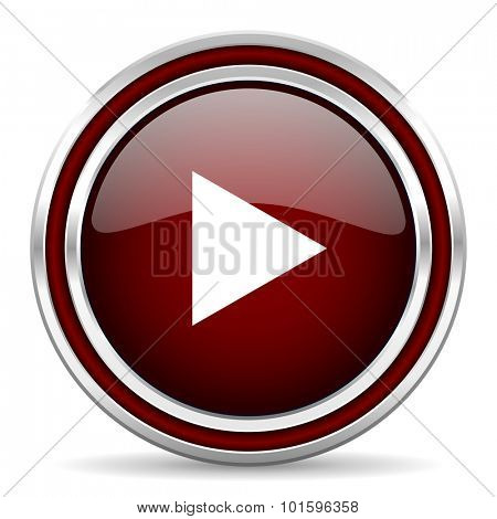 play red glossy web icon
