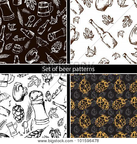 Set Of Beer Seamless Pattern On Black Backgroun. Vector Texture In Hand Draw Style