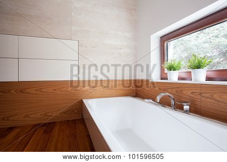 Porcelain Bath In Modern Washroom