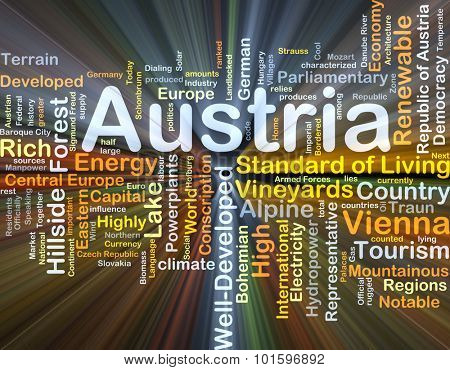 Background concept wordcloud illustration of Austria glowing light