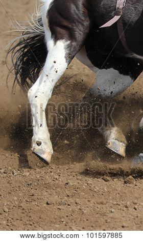 A close up of a horse leg sliding in the dirt.