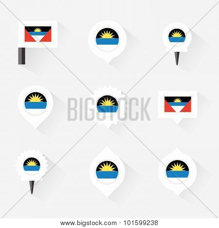 Antigua And Barbuda Flag And Pins For Infographic, And Map Design