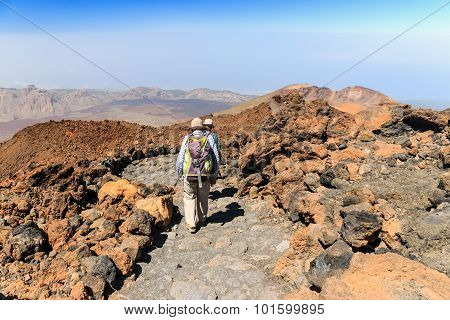 El Teide, Tenerife, June 06, 2015: Unidentified Tourists Are Walking On The Top Of El Teide Volcano,