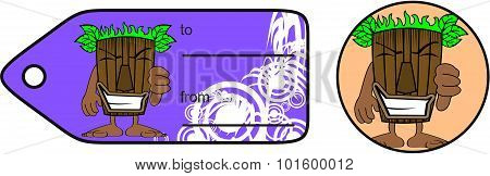 tiki mask cartoon giftcard
