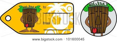 funny tiki hawaiian mask cartoon giftcard