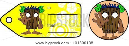 stop tiki hawaiian mask cartoon giftcard