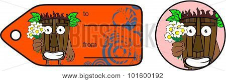 flowers tiki hawaiian mask cartoon giftcard