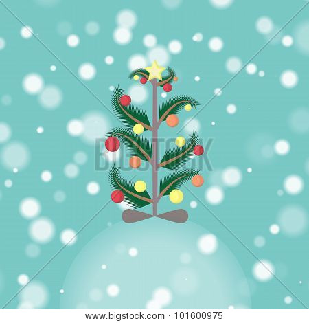 Decorated Christmas Tree In The Snowfall