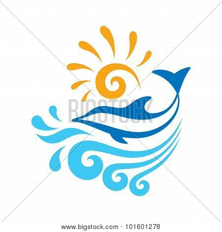 Dolphin - vector sign concept illustration. Dolphin, sea waves, sun - vector concept illustration.