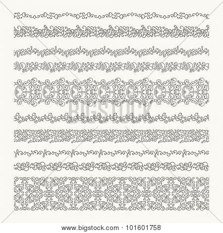Set of decorative borders. Detailed seamless ornaments.
