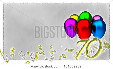 birthday concept with colorful baloons - 70th