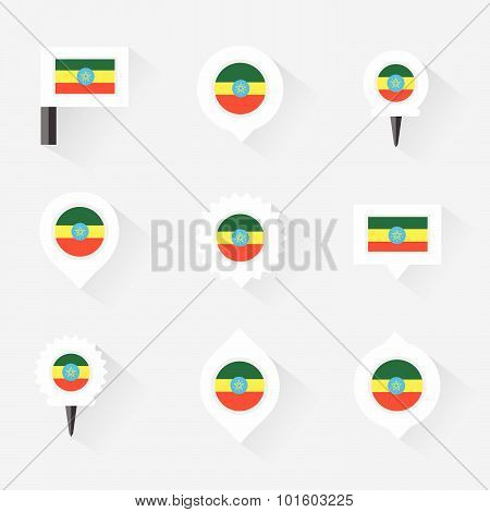 Ethiopia Flag And Pins For Infographic, And Map Design