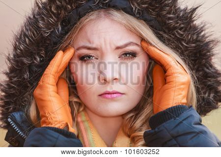 Woman Suffering From Headache Pain. Cold.