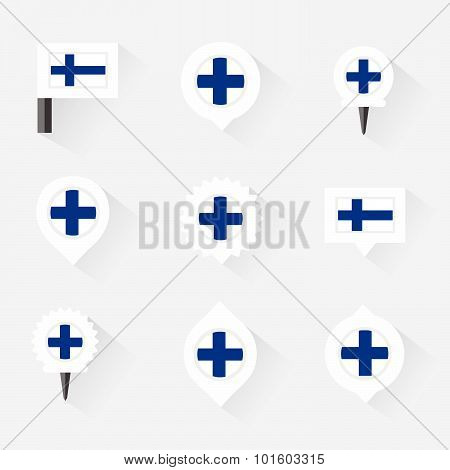 Finland Flag And Pins For Infographic, And Map Design