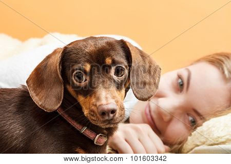 Woman With Dog Waking Up In Bed After Sleeping.