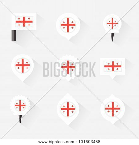 Georgia Flag And Pins For Infographic, And Map Design