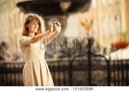 Girl Taking Self Picture Selfie Outdoors
