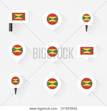 Grenada Flag And Pins For Infographic, And Map Design