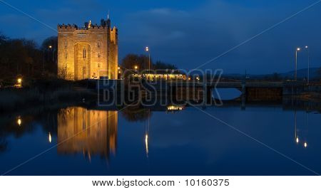 Beautiful Night Time Irish Castle By Water