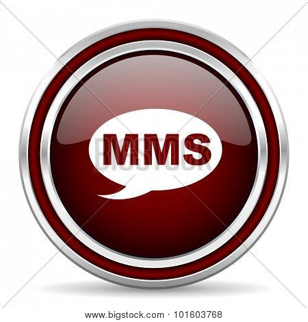 mms red glossy web icon