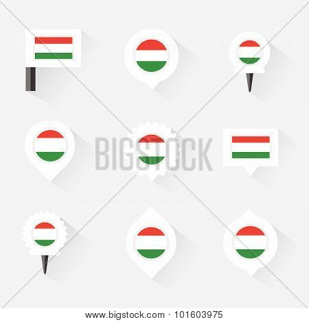 Hungary Flag And Pins For Infographic, And Map Design
