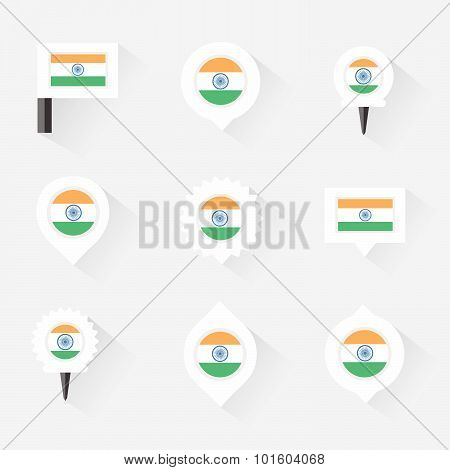 India Flag And Pins For Infographic, And Map Design