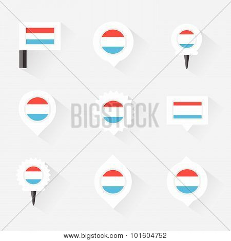 Luxembourg Flag And Pins For Infographic, And Map Design