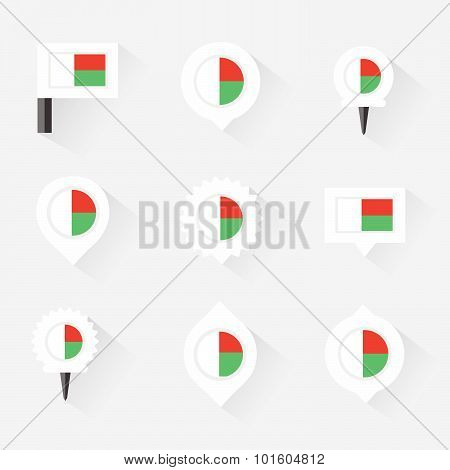 Madagascar Flag And Pins For Infographic, And Map Design