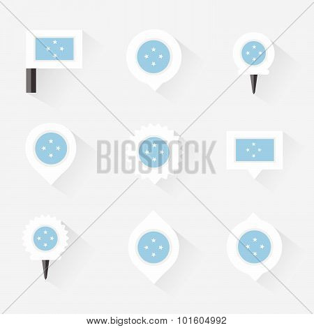 Micronesia Flag And Pins For Infographic, And Map Design