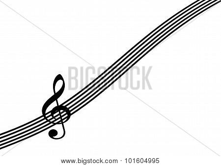 Treble Clef On Staff Or Stave On White Background