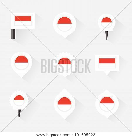 Monaco Flag And Pins For Infographic, And Map Design