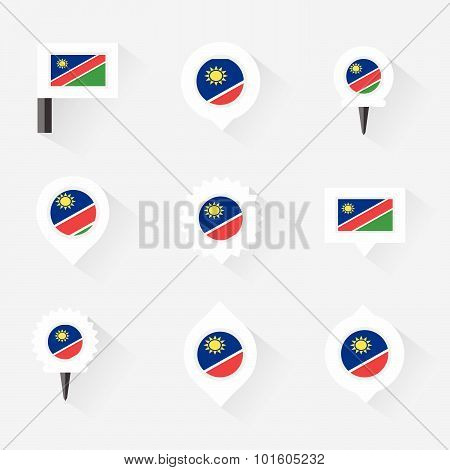 Namibia Flag And Pins For Infographic, And Map Design