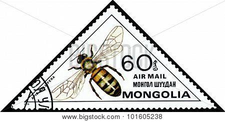 Vintage  Postage Stamp. Honey Bee.