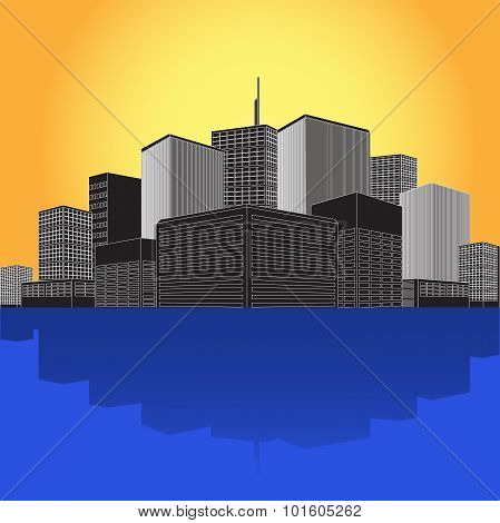 commercial, office, high-rise, building, city, skyline,vector illustration in flat design for web si