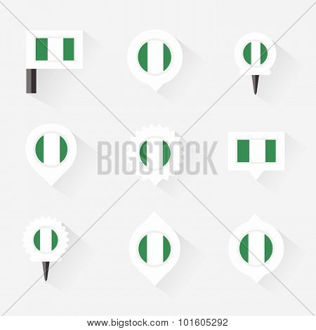 Nigeria Flag And Pins For Infographic, And Map Design