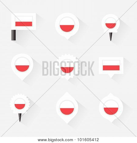 Poland Flag And Pins For Infographic, And Map Design